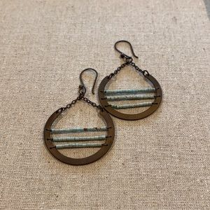 Brass Coloured Earrings with Turquoise Beads